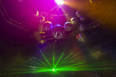 Disco light show, Stage lights with laser. Disco Royalty Free Stock Photos