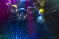 Disco light show, Stage lights with laser. Disco Stock Image