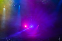 Disco light show, Stage lights Stock Photo