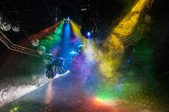 Disco light show, Stage lights Stock Image