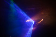 Disco light show, Stage lights. With laser Stock Photos