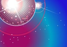 Disco lights. Shiny disco ball  on color background Stock Image