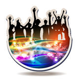 Disco lights and silhouettes Royalty Free Stock Photos