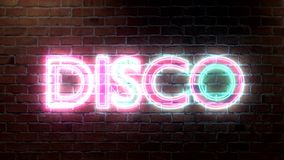 Disco logo neon lights sign on brick wall text glowing multicolor stock video