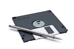 Disco magnetico e matita Fotografie Stock Libere da Diritti
