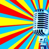 Disco Mic-3. Trendy Mic Against Disco Background With Area For Text (Ideal for CD-cover Royalty Free Stock Photography