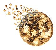 Disco mirror ball breaking into fragments vector illustration