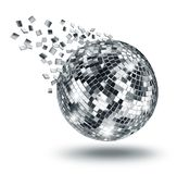 Disco mirror ball breaking into silver fragments royalty free illustration