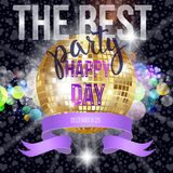 Disco mirror ball and original hand lettering Best Party. Royalty Free Stock Photo