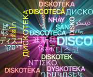 Disco multilanguage wordcloud background concept glowing Stock Photos