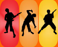 Disco music. Vector illustration of disco people silhouettes Royalty Free Stock Images