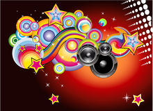 Disco Music Background. Abstract Magic Colorful Disco Music Background vector illustration