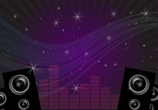 Disco music background. Illustration of disco dance floor with beams, lights, audio bars, amplifiers and waves as abstract design for events and parties Stock Photography