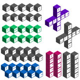 Disco music cubic square fonts in different colors Royalty Free Stock Image