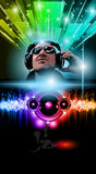 Disco Music Flyer with Disk Jokey. Shape and Rainbow lights. Ready for Poster of night event Stock Image