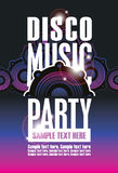 Disco Music party poster. Template and Audio speaker royalty free illustration