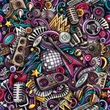 Disco-Musik Gekritzel der Karikatur nahtloses Muster der netten Stockfoto