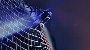 Disco na rede do objetivo do hóquei em gelo Foto de Stock