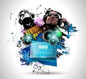 Disco-Nachtclub-Fliegerplan mit DJ-Form Lizenzfreie Stockfotografie