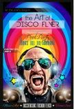 Disco-Nachtclub-Fliegerplan mit DJ-Form Stockbilder