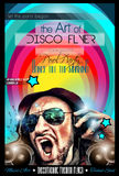 Disco-Nachtclub-Fliegerplan mit DJ-Form Stockfotos