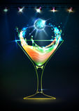 Disco neon Cocktail background Stock Images