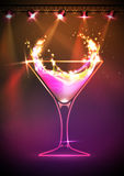 Disco neon Cocktail background Royalty Free Stock Photography