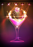 Disco neon Cocktail background Stock Image