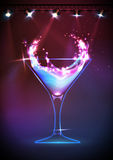 Disco neon Cocktail background Royalty Free Stock Image
