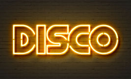 Disco neon sign. On brick wall background vector illustration