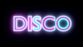 Disco neon sign lights logo text glowing multicolor stock video footage