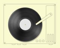 Disco nero dell'annotazione di vinile con il giocatore disegnato a mano fotografia stock