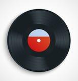 Disco nero dell'annotazione di vinile con l'etichetta in bianco nel rosso Fotografie Stock