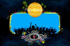 Disco Night. Illustration of musical background with cheering crowd in disco night Royalty Free Stock Image