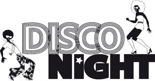 Disco night banner. Disco night black vector silhouette banner with a couple of dancers, EPS 8, no white objects Royalty Free Stock Image