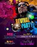 Disco Night Club Flyer layout with Disck Jockey shape and music Stock Photography