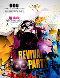 Disco Night Club Flyer layout with DJ shape and music elements royalty free illustration