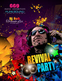 Disco Night Club Flyer layout with DJ shape and music elements stock illustration