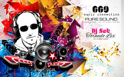 Disco Night Club Flyer layout with DJ shape and music elements vector illustration