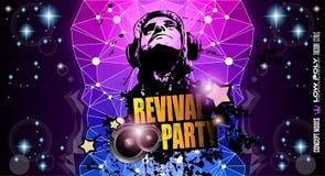Disco Night Club Flyer layout with DJ shape stock illustration