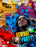 Disco Night Club Flyer layout with DJ shape. And music themed elements to use for Event Poster, Club advertisement, Night Contest promotions and Invitations Stock Photos