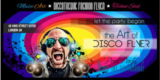 Disco Night Club Flyer layout with DJ shape Royalty Free Stock Images