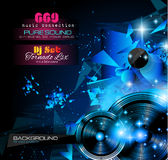 Disco Night Club Flyer layout with  music themed elements Royalty Free Stock Photo
