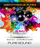 Disco Night Club Flyer layout with Speaker shape. And music themed elements to use for Event Poster, Club advertisement, Night Contest promotions and Stock Photography