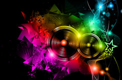 Disco Night Club Flyer layout with Speaker shape Stock Image