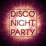 Disco night party banner on abstract explosion background with gold glittering elements. Burst of glowing star. Dust Stock Photography