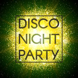 Disco night party banner on abstract explosion background with gold glittering elements and green glow. Dust firework Stock Photos