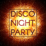 Disco night party banner on explosion background. Stock Photo