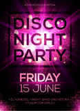 Disco night party poster template with shining. Disco night party vector poster template with shining golden spotlights background Stock Photo