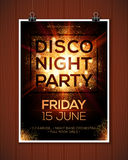 Disco night party poster template with shining. Disco night party vector poster template with shining golden spotlights background Stock Images